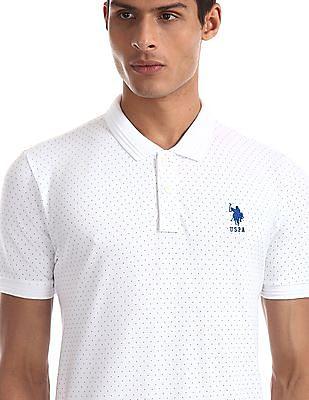 U.S. Polo Assn. White Vented Hem Printed Polo Shirt