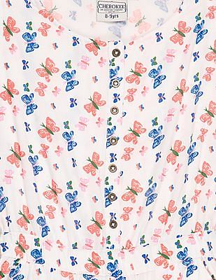 Cherokee Girls Butterfly Print Jumpsuit