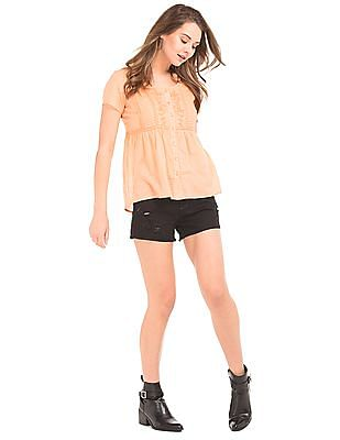 Elle Tucked Lace Trim Top