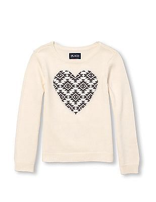 The Children's Place Girls Long Sleeve Intarsia-Knit Embellished Graphic Sweater