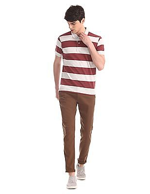 Ruggers Red and Grey Striped Pique Polo Shirt