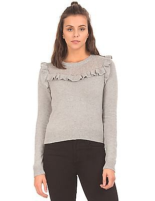 Aeropostale Ruffled Trim Patterned Sweater