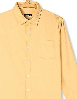 Roots by Ruggers Yellow Roll Up Sleeve Solid Shirt