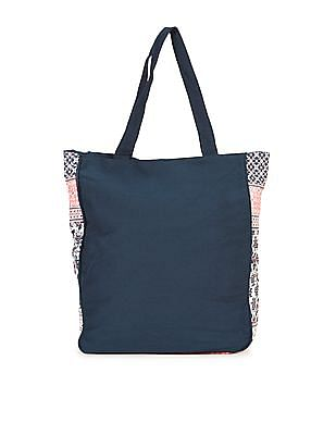 SUGR Navy And Pink Combination-Print Hand Bag