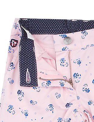 U.S. Polo Assn. Kids Girls Floral Print Cropped Pants