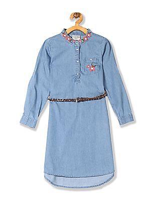 Cherokee Girls Embroidered Denim Shirt Dress