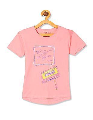 Cherokee Girls Short Sleeve Glitter Print T-Shirt