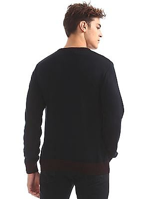 Flying Machine V-Neck Contrast Trim Sweater