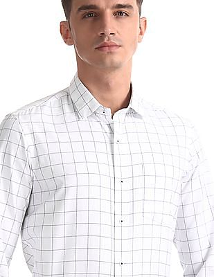Arrow Newyork White Mitered Cuff Check Shirt