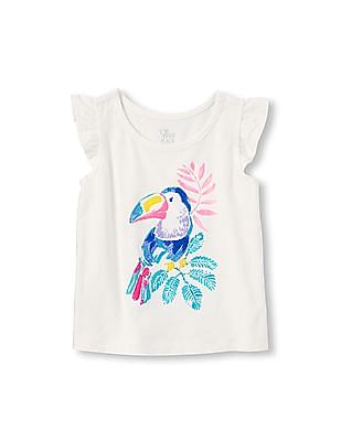 The Children's Place Toddler Girl White Flutter Sleeve Embellished Graphic Top