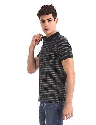 Ruggers Blue Regular Fit Printed Polo Shirt