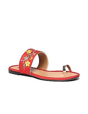 Bronz Embroidered Strap Toe Separator Sandals