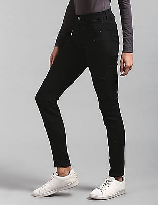 GAP Women Black Mid Rise Stud Front True Skinny Jeans
