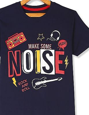 Cherokee Blue Boys Crew Neck Graphic T-Shirt