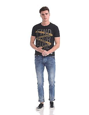 Flying Machine Michael Slim Tapered Fit Acid Wash Jeans