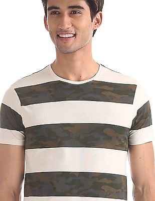 Flying Machine Off White And Green Camo Stripe Cotton T-Shirt