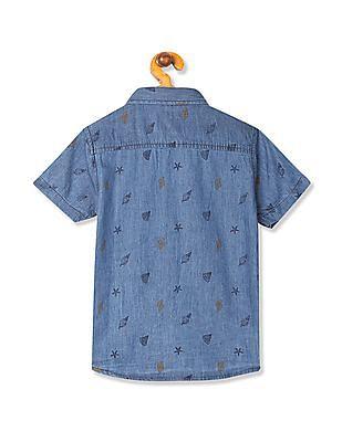 Cherokee Boys Contrast Print Chambray Shirt