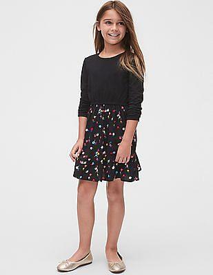 GAP Girls Black Long Sleeve Mix-Fabric Dress