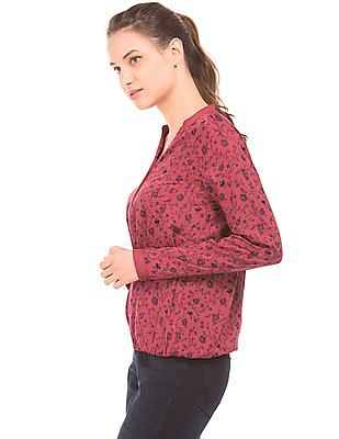 Cherokee Floral Print Long Sleeve Top