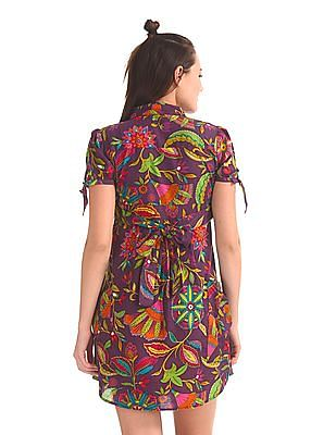 Flying Machine Women Floral Print Pleated Dress