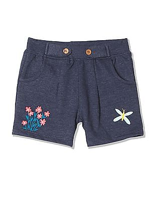 Donuts Girls Printed Pleated Shorts