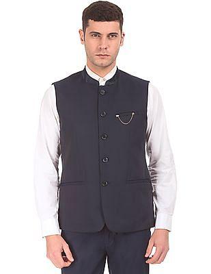 Arrow Textured Regular Fit Nehru Jacket