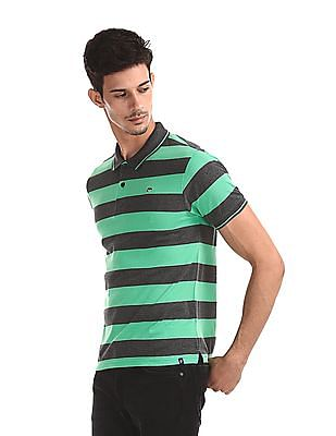 Ruggers Green And Grey Striped Polo Shirt