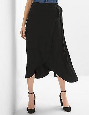 GAP Women Black Drapey Wrap Midi Skirt