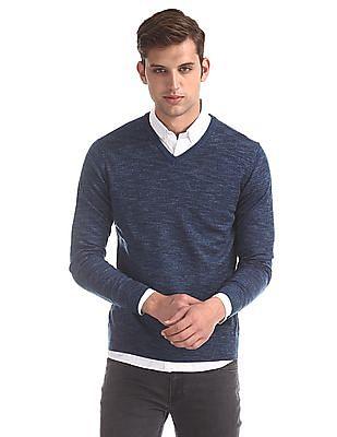 Flying Machine Blue V-Neck Heathered Sweater