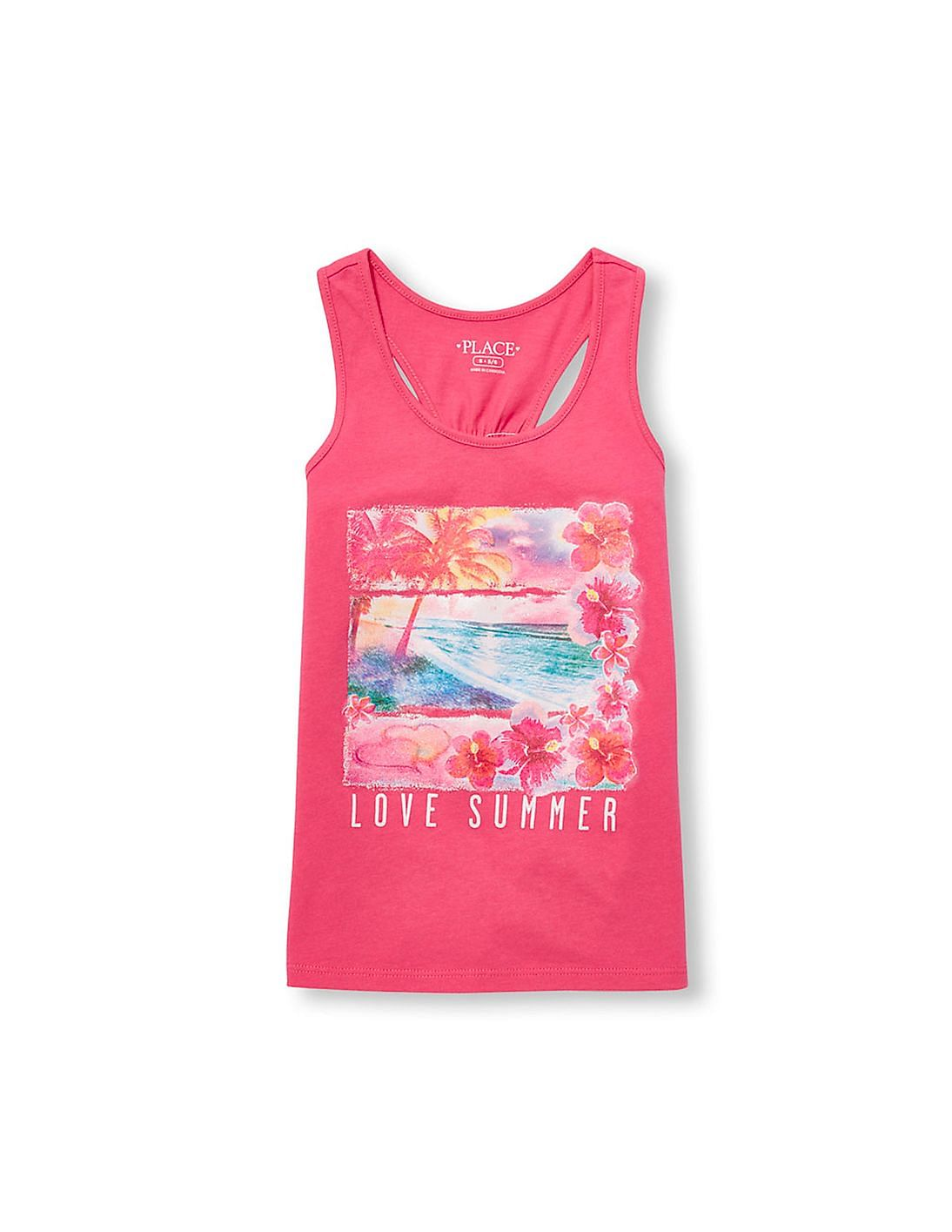 The Childrens Place Girls Sleeveless Graphic Flip Tank Top