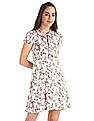 SUGR White Tie Up Neck Printed Fit And Flare Dress