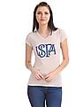 U.S. Polo Assn. Women V-Neck Glitter Graphic T-Shirt