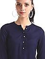 Aeropostale Blue Mandarin Collar Patterned Weave Top