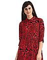 SUGR Red Spread Collar Leopard Print Shirt Dress
