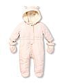 The Children's Place Baby Pink Heart Quilted Snowsuit