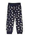 U.S. Polo Assn. Kids Blue Boys Mid Rise Printed Joggers