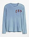 GAP Logo Graphic Indigo Long Sleeve Crewneck T-Shirt