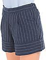 Flying Machine Women High Rise Striped Shorts