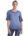 Flying Machine Women Bell Sleeve Dyed Top