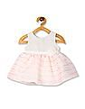 The Children's Place White And Pink Baby Shimmery Striped Dress