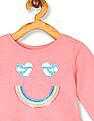 The Children's Place Toddler Girl Pink Active Long Sleeve Glitter Graphic Ruffle Peplum Top