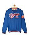 Flying Machine Blue Brand Applique Crew Neck Sweater