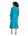 Anahi Green Notched Neck Glitter Print Kurta