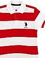 U.S. Polo Assn. Kids Boys Striped Front Pique Polo Shirt
