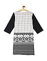 Karigari White Combination Print Cotton Kurta