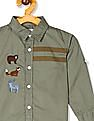 Donuts Green Boys Barrel Cuff Embroidered Shirt