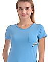 Flying Machine Women Solid Chest Pocket T-Shirt