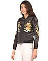 Flying Machine Women Embroidered Bomber Jacket