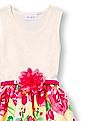 The Children's Place Girls Sleeveless Painted Rosette Print Belted Dress