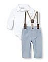 The Children's Place Baby Boy Long Sleeve Arrow Printed Button-Down Bodysuit Suspenders And Pants Set